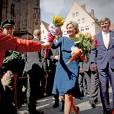 Le roi Willem-Alexander et la reine Maxima des Pays-Bas arrivent à l'hôtel de ville de Nuremberg, à l'occasion de leur voyage officiel en Bavière. Le 14 avril 2016  King Willem-Alexander and Queen Maxima of The Netherlands visit the town hall in Nurenberg, Germany, April 14th, 201614/04/2016 - Nuremberg