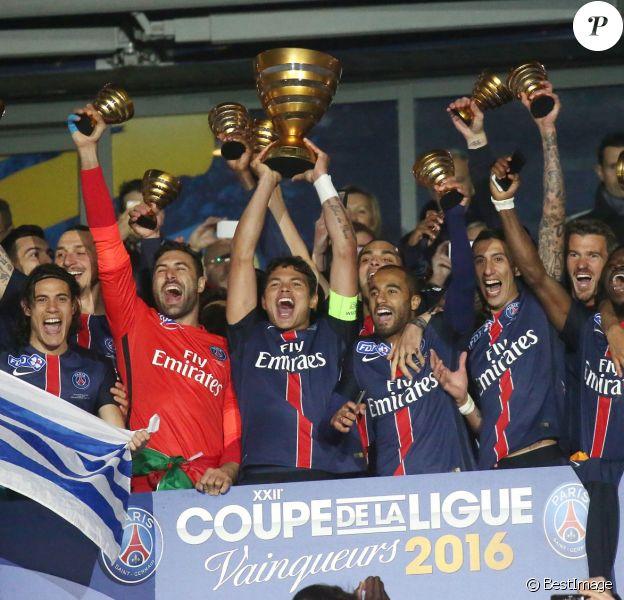 Le PSG remporte la Coupe de la Ligue face au LOSC au Stade de France, le 23 avril 2016. © Cyril Moreau/Bestimage