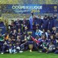 Le PSG victorieux au Stade de Franceface au LOSC, en finale de la Coupe de la Ligue. Paris, le 23 avril 2016. © Cyril Moreau/Bestimage