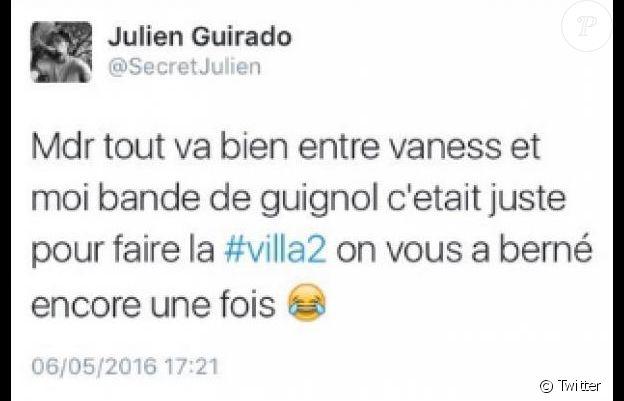 Julien Guirado dévoile que sa rutpture avec Vanessa Lawrens était un faux buzz. Mai 2016.
