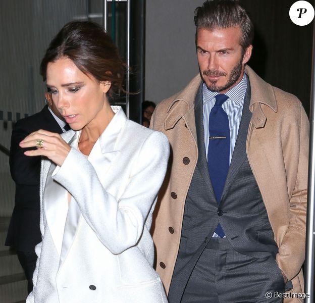 Victoria et David Beckham à la sortie de leur hôtel à New York, le 8 février 2016