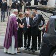 Stéphane Delajoux avec sa femme Julie Andrieu et le frère de la défunte Nicole Courcel - Obsèques de Nicole Courcel en l'église Saint-Roch à Paris le 30 juin 2016.