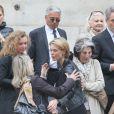 Jean-Marie Périer, Colette Boutoulaud, Julie Andrieu et son mari Stéphane Delajoux - Obsèques de Nicole Courcel en l'église Saint-Roch à Paris le 30 juin 2016.