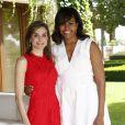 La reine d'Espagne Letizia, reçoit Michelle Obama au palais de la Zarzuela à Madrid, le 30 juin 2016.