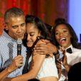 Le président des Etats-Unis Barack Obama célèbre l'anniversaire de sa fille Malia (18 ans) et la date commémorative de l'indépendance du pays lors d'une cérémonie à la Maison Blanche, le 4 juillet 2016 à Washington. La chanteuse Janelle Monáe et le rappeur Kendrick Lamar ont donné un concert pour l'occasion.