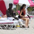 Exclusif - Prix Spécial - Bacary Sagna, sa femme Ludivine et leurs fils Kais et Elias, en vacances à Miami, le 14 juillet 2016.