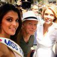 Sylvie Tellier, Iris Mittenaere (Miss France 2016) et Fanck Dubosc à Montpellier pour le Tour de France, le 14 juillet 2016.