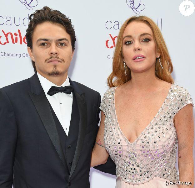 """Lindsay Lohan et son compagnon Egor Tarabasov - People au """"Butterfly Ball"""" au profit de l'association caritative """"Caudwell Children"""" au Grosvenor House Hotel à Londres. Le 22 juin 2016"""