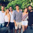 Jérémy Olivier, Clara Morgane, Valentin Lucas, Caroline Receveur et un couple d'amis lors de leurs vacances de rêves à Bali. Juillet 2016.
