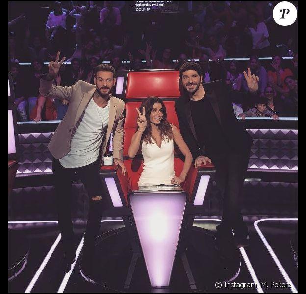 """Jenifer, Patrick Fiori et M. Pokora sur le plateau de """"The Voice Kids 3"""", novembre 2015"""