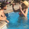 Exclusif - Amanda Lear se repose en vacances avec le beau Matthieu en Provence. Le 5 août 2016
