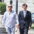 """""""Exclusif - Conrad Hilton arrive au tribunal à Los Angeles avec ses parents Kathy et Rick Hilton, le 16 juin 2015"""""""