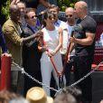 Tyrese Gibson,Larry Kurzweil, Michelle Rodriguez, Jason Statham et Vin Diesel - Inauguration du Fast & Furious Supercharged Ride aux Studios Universal à Los Angeles le 23 juin 2015.