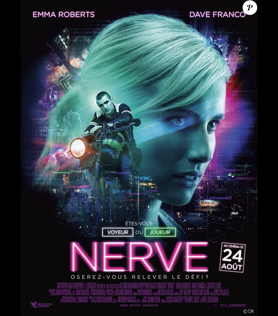 affiche du film nerve en salles le 24 ao t 2016. Black Bedroom Furniture Sets. Home Design Ideas