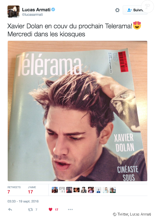 """Xavier Dolan en couverture de """"Télérama"""", en kiosques mardi 20 septembre 2016. Tweet de Lucas Armati, journaliste du magazine."""