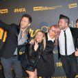 Christian Millette, Emmanuelle Berne, Chris Marques et sa fiancée Jaclyn Spencer, Priscilla Betti et Olivier Dion (selfie) - Cérémonie des Melty Future Awards 2016 au Grand Rex à Paris, le 16 février 2016.