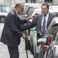 """Jacques Chirac est allé déjeuner au restaurant """"Le père Claude"""" avec sa femme Bernadette et sa fille Claude à Paris le 4 octobre 2014."""