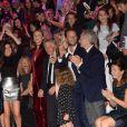 Fréderic Beigbeder et sa femme Lara Micheli, Laurent Milchior (gérant du groupe familial Etam), Pierre Milchior et sa femme Rachel Milchior-9ème édition de l'Etam Live Show par Etam au Centre Pompidou. Paris, le 27 septembre 2016.