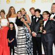 Le casting de Modern Family à la cérémonie des Emmy Awards organisée au Nokia Theatre de Los Angeles, le 25 août 2015.