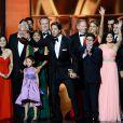 Le casting de Modern Family récompensée à la cérémonie des Emmy Awards organisée à Los Angeles le 22 septembre 2013.