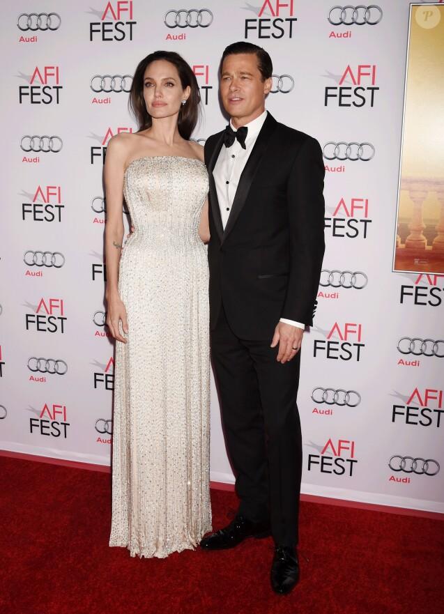"""Angelina Jolie et son mari Brad Pitt à la Première de """"By the Sea"""" à Los Angeles le 5 novembre 2015 dans le cadre de l'Audi Opening Night Gala."""