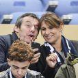 """Jean-Luc Reichmann et sa femme Nathalie au match de qualification pour la Coupe du Monde 2018, """"France-Bulgarie"""" au Stade de France de Saint-Denis, le 7 octobre 2016"""