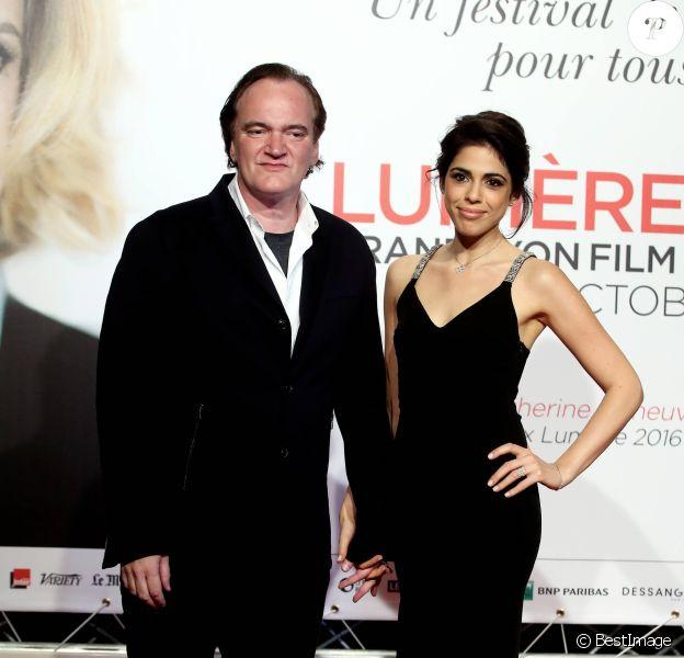 Quentin Tarantino et Daniella Pick au photocall de la cérémonie d'ouverture du 8ème festival Lumière de Lyon, le 8 octobre 2016. © Dominique Jacovides/Bestimage