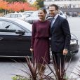 Exclusif - La princesse Victoria et le prince Daniel de Suède arrivant à Radio Suède (Sveriges Radio) à Stockholm, le 18 octobre 2016, pour une visite non officielle.