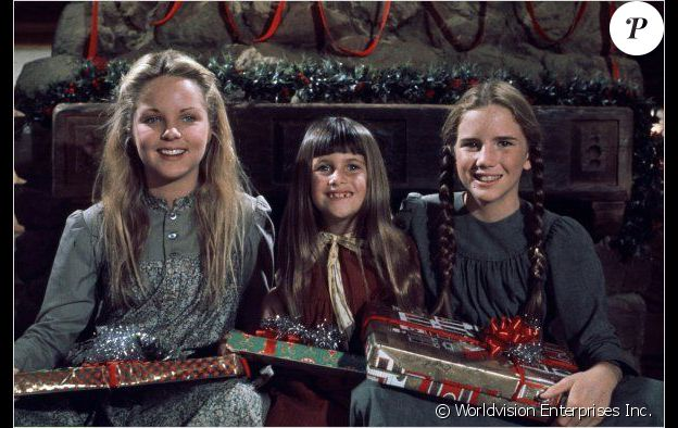 """Melissa Sue Anderson (Mary), Melissa Gilbert (Laura) et Sidney Greenbush (Carrie), les trois soeur Ingalls dans """"La Petit maison dans la prairie"""", 1974-1982."""