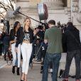 Les mannequins du défilé Victoria's Secret 2016 quittent le Mandarin Oriental et arrivent au Grand Palais. Paris, le 28 novembre 2016.