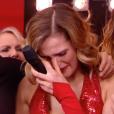 """Camille Lou fond en larmes lors de la finale de l'émission """"Danse Avec Les Stars"""" après un message d'amour de son compagnon Gabriele. Vidéo diffusée sur TF1, le vendredi 16 décembre 2016"""