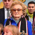 Bernadette Chirac, Conseillère générale de la Corrèze, ex-Première dame et épouse de l'ancien président Jacques Chirac, participe à l'opération des Pièces Jaunes à Nice le 6 février 2016.