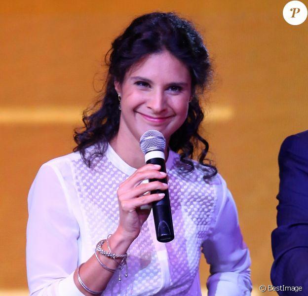 Info - Apolline de Malherbe est enceinte de son troisième enfant - Apolline de Malherbe et Christophe Delay - Conférence de presse du groupe NextRadioTV qui regroupe BFM TV et RMC à Paris le 2 septembre 2015.