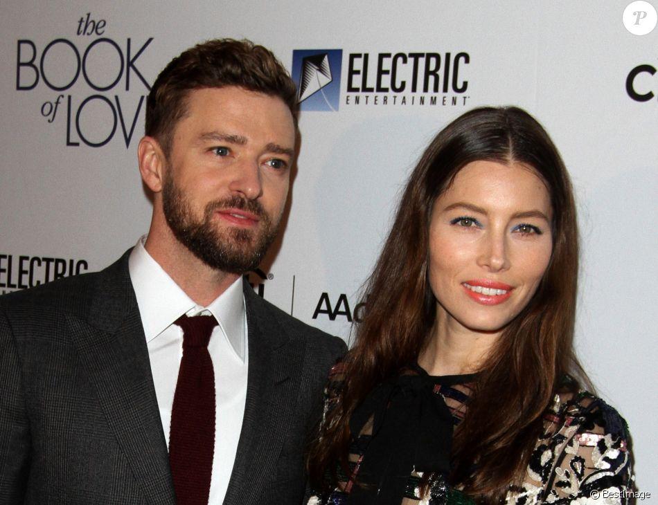 """Justin Timberlake et sa femme Jessica Biel lors de la première du film """"Book of Love"""" au Grove à Los Angeles, Californie, Etats-Unis, le 10 janvier 2016."""
