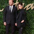 """David et Victoria Beckham à la Soirée des """"British Fashion Awards"""" à Londres. Le 23 novembre 2015"""