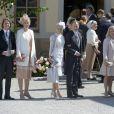 Jan Dinkelspiel, Ellen Dinkelspiel, Louise Cronstedt, Jacob Cronstedt , Charlotte Kreuger Cederlund, Christoffer Cederlund - Baptême de la princesse Leonore à Stockholm en Suède le 8 juin 2014.