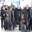 Vanessa Paradis, sa fille Lily-Rose Depp, et Monica Bellucci, arrivées de Los Angeles, le 11 janvier, à l'aéroport de Roissy.