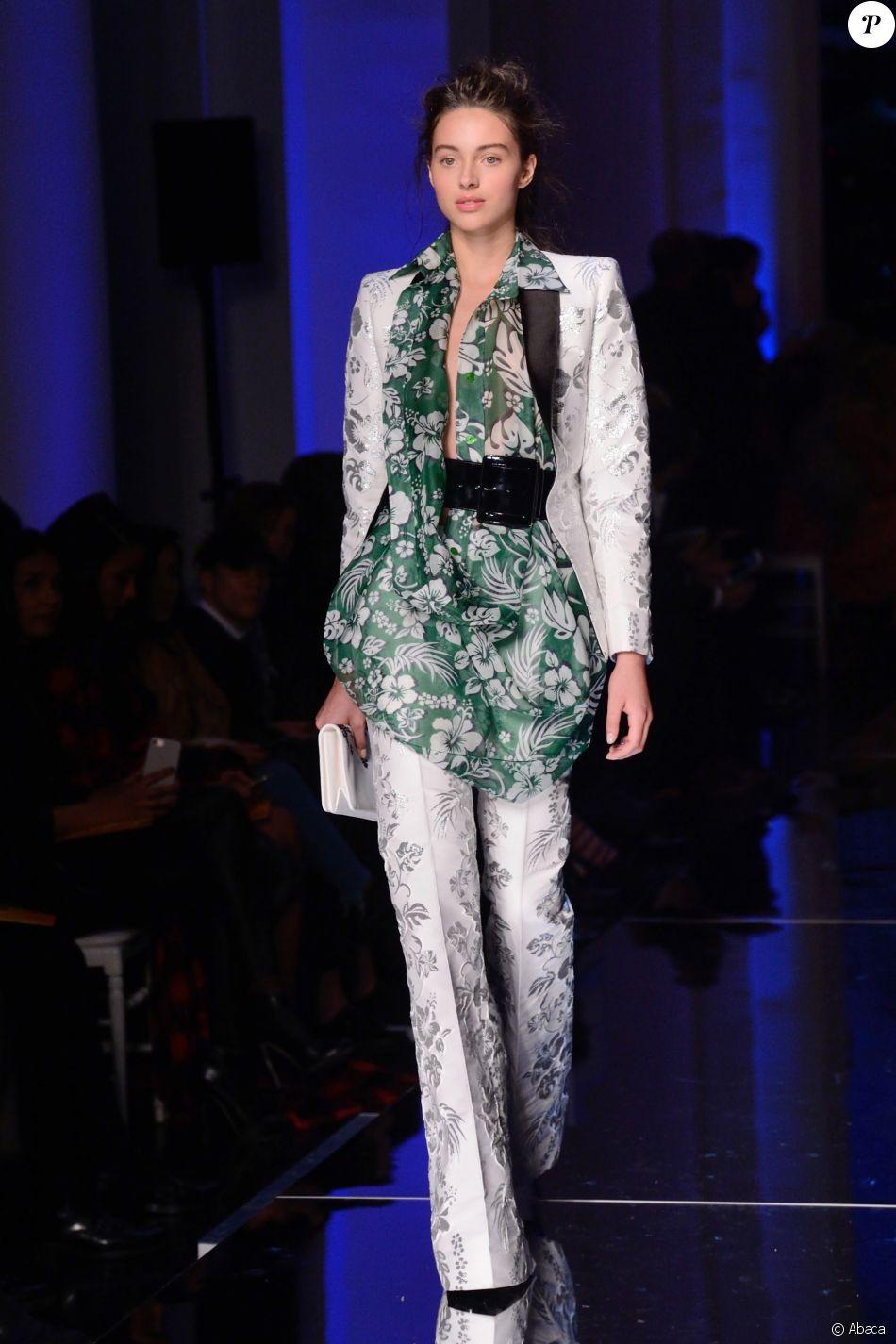 Jenaye Noah au défilé Haute Couture Jean-Paul Gaultier Haute Couture printemps-été 2017 à la Fashion Week de Paris, le 25 janvier 2017.