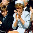 La princesse Diana entourée de ses fils le prince William et le prince Harry en mai 1995 à Hyde Park lors de commémorations.