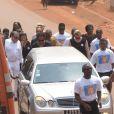 Exclusif - Jean-Claude Camus, Isabelle Camus et Yannick Noah - Obsèques de Zacharie Noah à Yaoundé au Cameroun le 17 janvier 2017.