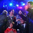 Liu Ye, le célèbre acteur chinois et ambassadeur du Tourisme de la Côte d'Azur en Chine, et sa femme Anais, native de Nice, sont avec Christian Estrosi pour assister au 1er corso du Carnaval de Nice 2017, le 11 février 2017. © Bruno Bebert/Bestimage