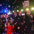 Liu Ye, le célèbre acteur chinois et ambassadeur du Tourisme de la Côte d'Azur en Chine, et sa femme Anais, native de Nice, sont avec Christian Estrosi et sa femme Laura Tenoudji pour assister au 1er corso du Carnaval de Nice 2017, le 11 février 2017. © Bruno Bebert/Bestimage