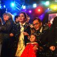 Liu Ye, le célèbre acteur chinois et ambassadeur du Tourisme de la Côte d'Azur en Chine, sa femme Anais, native de Nice, et leur fille Nina, assistent au 1er corso du Carnaval de Nice 2017, le 11 février 2017. © Bruno Bebert/Bestimage