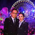 Liu Ye, le célèbre acteur chinois et ambassadeur du Tourisme de la Côte d'Azur en Chine, et sa femme Anais, native de Nice, assistent au 1er corso du Carnaval de Nice 2017, le 11 février 2017. © Bruno Bebert/Bestimage