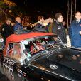 Semi-exclusif - Le prince Albert II de Monaco et Pierre Casiraghi au départ de la dernière étape du XXe Rallye Historique de Monte-Carlo à Monaco le 31 janvier 2017. © Michael Alesi/Bestimage
