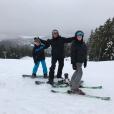 David, Cruz et Romeo Beckham en vacances au ski, à la station  Whistler, au Canada, février 2017.