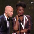 Frank Gastambide et Aissa Maiga pendant la cérémonie des César du Cinéma 2017.