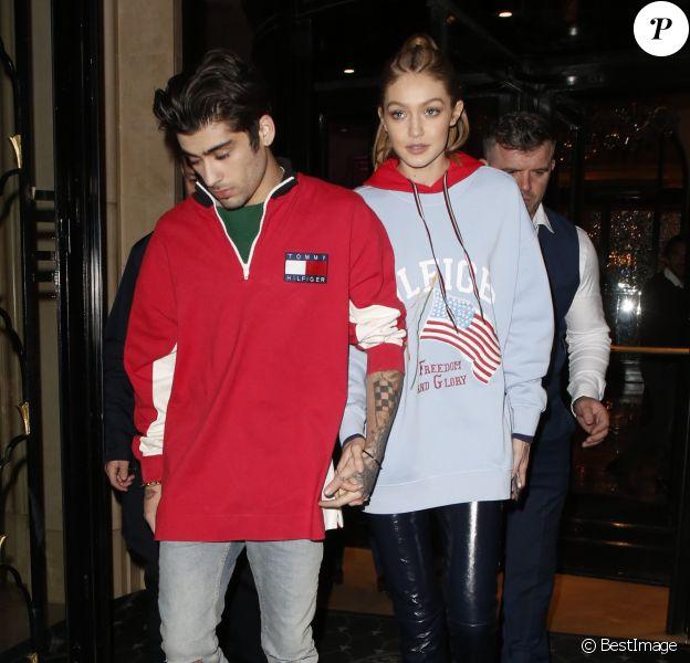 Gigi Hadid et son compagnon Zayn Malik se rendent au restaurant Laperouse pour la soirée Hilfiger à Paris le 28 février 2017