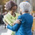 La princesse Christina de Suède et la reine Sofia d'Espagne au Te Deum en l'honneur du 70e anniversaire du roi Carl XVI Gustaf de Suède au palais royal à Stockholm le 30 avril 2016