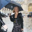 """Exclusif - Sylvie Tellier arrive au défilé de mode prêt-à-porter automne-hiver 2017/2018 """"Léonard"""" au Grand Palais à Paris. Le 6 mars 2017."""